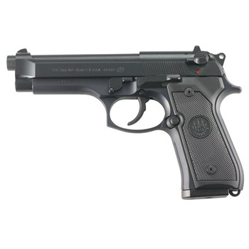 "Beretta M9, Double Action, Full Size, 9MM, 4.9"" Barrel, Alloy Frame, Matte Black Finish, Polymer Grips, 3 Dot Sights, 15Rd, 2 Magazines, Ambidextrous Safety J92M9A0M, UPC : 082442816371"