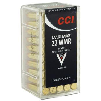 CCI/Speer Maxi-Mag, 22WMR, 40 Grain, Total Metal Jacket, 50 Round Box 23, UPC : 076683000231