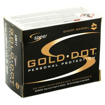 CCI/Speer Speer Gold Dot, 9MM, 124 Grain, Hollow Point, +P, Short Barrel, 20 Round Box 23611, UPC : 076683236111