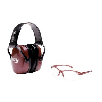 Howard Leight Shooting Combo Kit Earmuff, Dusty Rose, Ultra Light, NRR 25 Muffs, Anti-fog Clear Glasses R-01727, UPC : 033552017271