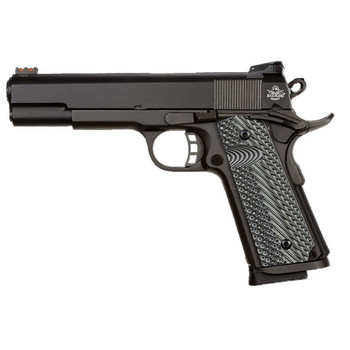 """Armscor 1911, Rock Island, Semi-automatic Pistol, 1911, 22TCM, 9MM, 5"""" Barrel, Steel Frame, Parkerized Finish, G10 Grips, 10Rd, Convertible kit for 9mm and 22TCM, Fired Case, Fixed Sights 51962, UPC :4806015519621"""