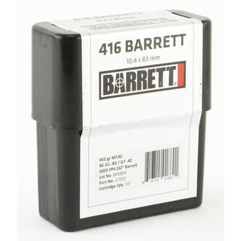 Barrett Ammo, 416 Barrett, 452Gr, Boat tail Hollow Point, 10 Rounds per Box, 3,050fps 17222, UPC :816715018601