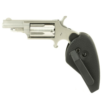"North American Arms Mini Revolver, Single Action, 22LR/22WMR, 1.625"" Barrel, Steel Frame, Stainless Finish, Polymer Grips, Fixed Sights, 5Rd, Holster Grip NAA-22MC-HG, UPC :744253000911"