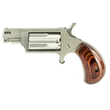 """North American Arms Ported Snub, Micro Compact, 22WMR, 1.125"""" Barrel, Steel Frame, Stainless Finish, Wood Grips, 5Rd NAA-22MS-P, UPC :744253002151"""