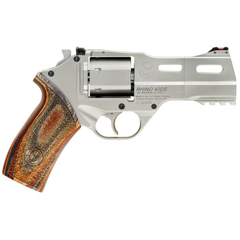"""Chiappa Firearms Rhino 40DS, Revolver, Double/Single Action, 357 Magnum/38 Special, 4"""" Barrel, Alloy Frame, Walnut Grips, 6Rd, Nickel Finish, 3 Moon Clips, Adjustable Rear Sight and Fiber Optic Front 340-222, UPC :8053670712171"""