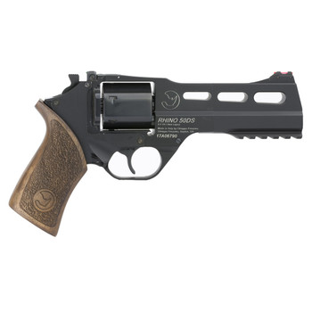 "Chiappa Firearms Rhino 50SAR Revolver, Single Action, 9mm, 5"" Barrel, Alloy Frame, Black Finish, Walnut Grips, Adjustable Rear Sights, 3 Moon Clips, 6 Rounds CF340-278, UPC :8053670717381"