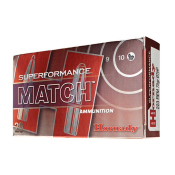 Hornady SuperFormance, 223REM, 75 Grain, Boat Tail, Hollow Point, Match, 20 Round Box 80264, UPC : 090255802641