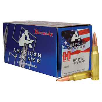 Hornady American Gunner, 308 Win, 155 Grain, Boat tail Hollow Point, 50 Round Box 80967, UPC : 090255809671