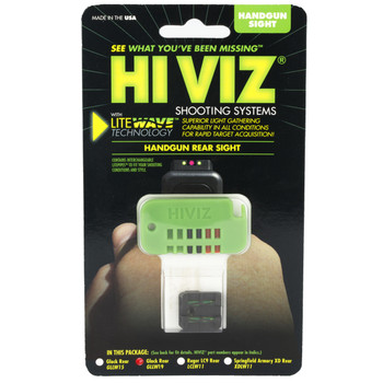 Hi-Viz Litewave Sight, Fits 10MM, 45ACP, 45 GAP, Rear Only, Includes Litepipes and Key GLLW19, UPC :613485589191