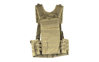 NCSTAR AR Chest Rig, Nylon, Tan, Fully Adjustable, PALS/ MOLLE Webbing, Includes 6 Double AR Magazine pouches CVARCR2922T, UPC :814108016661