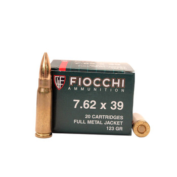 Fiocchi Ammunition Rifle, 762X39, 124 Grain, Full Metal Jacket, 20 Round Box 762SOVA, UPC :762344704951