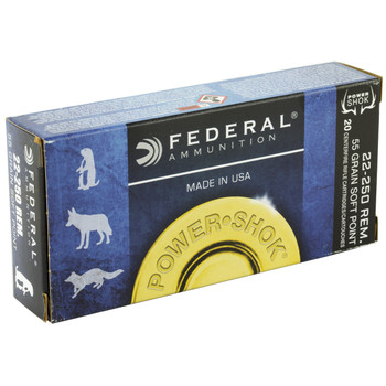 Federal PowerShok, 22-250, 55 Grain, Soft Point, 20 Round Box 22250A, UPC : 029465088231