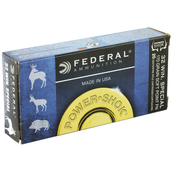 Federal PowerShok, 32 WIN Special, 170 Grain, Soft Point, 20 Round Box 32A, UPC : 029465084851