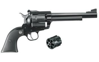 "Ruger Blackhawk Convertible, Single-Action Revolver, 357 Mag/9MM, 6.5"" Barrel, Blued Finish, Alloy Steel, Aluminum Frame, Black Checkered Hard Rubber Grips, Adjustable Rear & Ramp Front Sight, 6Rd 00318, UPC :736676003181"