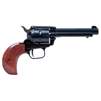 "Heritage Rough Rider, Single Action Army Revolver, 22LR/22WMR, 4.75"" Barrel, Alloy Frame, Blue Finish, Wood Grips, Fixed Sights, 6Rd, Bird's Head, Right Hand 22MB4BH, UPC :727962500231"