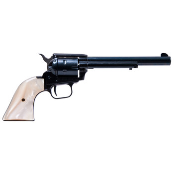 """Heritage Rough Rider, Single Action Army Revolver, 22LR/22WMR, 6.5"""" Barrel, Alloy Frame, Blue Finish, White Mother of Pearl Grips, Fixed Sights, 6Rd, Right Hand 22MB6PRL, UPC :727962500361"""
