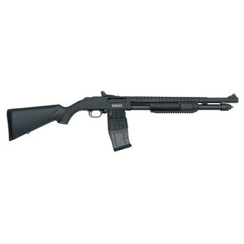 "Mossberg 590M, Mag-Fed, Pump Action Shotgun, 18.5"" Barrel, Heat Shield, 3"" Chamber, AccuChoke, Matte Blued Finish, Synthetic Stock, Ghost-Ring Sights, 10Rd Detachable Dougle-Stack Magazine 50206, UPC : 015813502061"