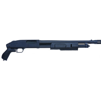 "Mossberg 500, Pump Action, 12 Gauge, 3"" Chamber, 18.5"" Barrel, Blue Finish, Pistol Grip, Bead Sights, Tactical Forend, Muzzle Brake, Right Hand, 5Rd 50673, UPC : 015813506731"