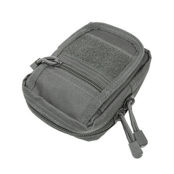 NCSTAR Small Utility Pouch, Nylon, Gray, MOLLE Straps for Attachment, Zippered Compartment CVSUP2934U, UPC :848754000941