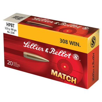 Sellier  Bellot Match, 308WIN, 200 Grain, Boat Tail Hollow Point Subsonic, 20 Round Box SB308SUB, UPC :754908512171