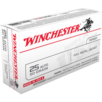 Winchester Ammunition USA, 25ACP, 50 Grain, Full Metal Jacket, 50 Round Box Q4203, UPC : 020892201941
