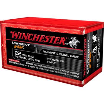 Winchester Ammunition Rimfire, 22WMR, 30 Grain, V-Max, 50 Round Box S22M2PT, UPC : 020892102811