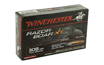 Winchester Ammunition Razorback XT, 308WIN, 150 Grain, Hollow Point, Lead Free, 20 Round Box S308WB, UPC : 020892219311