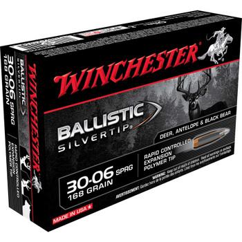 Winchester Ammunition Supreme, 30-06, 168 Grain Supreme, Ballistic Silvertip, 20 Round Box SBST3006A, UPC : 020892210301