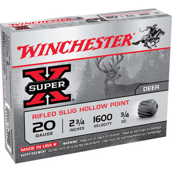 "Winchester Ammunition Super-X, 20 Gauge, 2.75"", 0.75 oz., Slug, 5 Round Box X20RSM5, UPC : 020892000421"