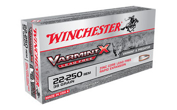 Winchester Ammunition Varmint X Lead Free, 22-250, 38 Grain, Varmint X Lead Free Hollow Point, 20 Round Box X22250PLF, UPC : 020892223141