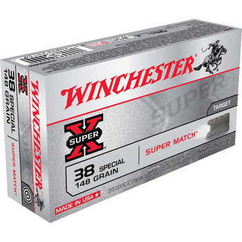 Winchester Ammunition Super-X, 38 Special, 148 Grain, Lead Wadcutter, 50 Round Box X38SMRP, UPC : 020892201361