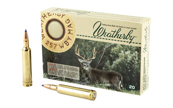 Weatherby Select Plus Ammunition, 257 Weatherby, 80 Grain, Barnes Tipped Triple Shock X, 20 Round Box B25780TTSX, UPC :747115418541