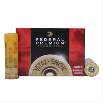 "Federal Premium Vital-Shok Ammunition 20 Gauge 2-3/4"" Buffered #3 Copper Plated Buckshot 20 Pellets Box of 5, UPC : 029465017941"