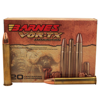 Barnes VOR-TX Safari Ammunition 500 Nitro Express 570 Grain TSX Hollow Point Flat Base Lead-Free Box of 20, UPC :716876150151