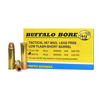 Buffalo Bore Ammunition 357 Magnum Short Barrel 140 Grain Barnes TAC-XP Hollow Point Low Flash Lead-Free Box of 20, UPC :651815019291