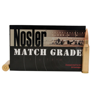 Nosler Match Grade Ammunition 338 Lapua Magnum 300 Grain Custom Competition Hollow Point Boat Tail Box of 20, UPC : 054041431361