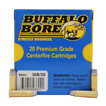 Buffalo Bore Ammunition Outdoorsman 32 H&R Magnum +P 130 Grain Hard Cast Lead Semi-Wadcutter Box of 20, UPC :651815036021