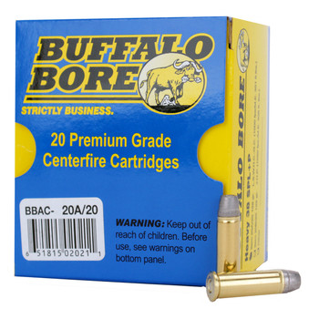 Buffalo Bore Ammunition 38 Special +P 158 Grain Lead Semi-Wadcutter Hollow Point Gas Check Box of 20, UPC :651815020211