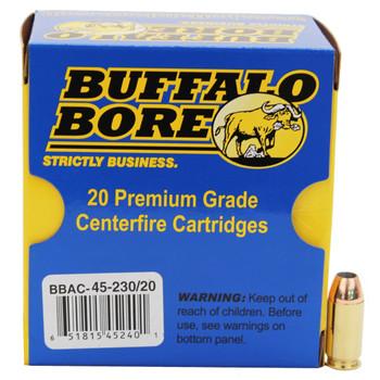 Buffalo Bore Ammunition 45 ACP +P 230 Grain Jacketed Hollow Point Box of 20, UPC :651815452401