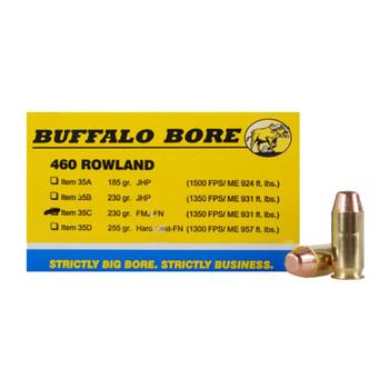 Buffalo Bore Ammunition 460 Rowland 230 Grain Full Metal Jacket Flat Nose Box of 20, UPC :651815035031