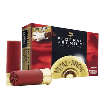 "Federal Premium Vital-Shok Ammunition 12 Gauge 2-3/4"" Buffered 00 Copper Plated Buckshot 9 Pellets Flitecontrol Wad Box of 5, UPC : 029465025731"