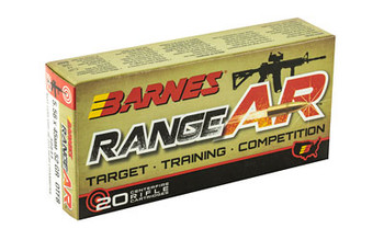 Barnes Range AR, 556NATO, 52 Grain, Zn Core Open Tip Flat Base, Lead Free, 20 Round Box 30844, UPC :716876151110