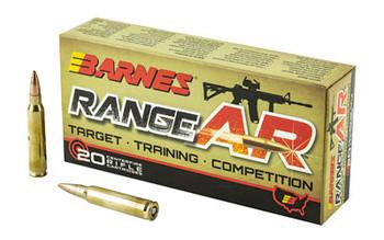 Barnes Range AR, 556NATO, 52 Grain, Zn Core Open Tip Flat Base, Lead Free, 20 Round Box 30844, UPC :716876151110