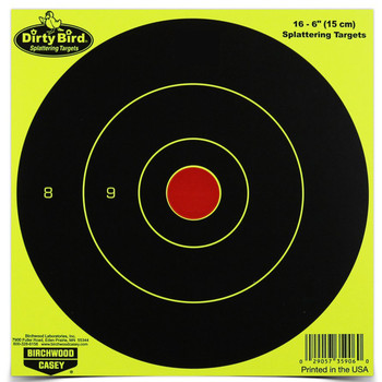 "Birchwood Casey Dirty Bird Target, Round Bullseye, 6"", 16 Targets, Yellow 35906, UPC : 029057359060"