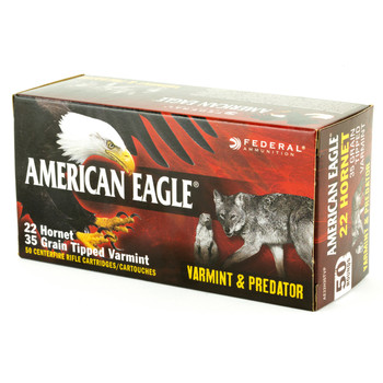 Federal American Eagle Varmint & Predator, 22 Hornet, 20 Grain, Tipped Varmint, 50 Round Box AE22H35TVP, UPC :604544618020