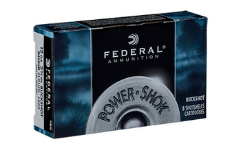 "Federal PowerShok, 12 Gauge, 2.75"", 4 Buck, 34 Pellets, 5 Round Box F1304B, UPC : 029465009700"