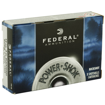 "Federal PowerShok, 12 Gauge, 3"", 4 Buck, Mag Dram, Buckshot, 41 Pellets,5 Round Box F1314B, UPC : 029465009670"