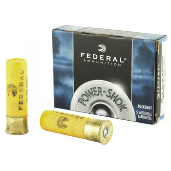 "Federal PowerShok, 20 Gauge, 2.75"", 3 Buck, Max Dram, Buckshot, 20 Pellets,5 Round Box F2033B, UPC : 029465009830"