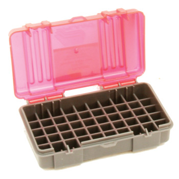 Plano Ammunition Box, Holds 50 Rounds of 9mm/.380 Handgun Rounds, Charcoal/Rose , 6 Pack 1224-50, UPC : 024099122450