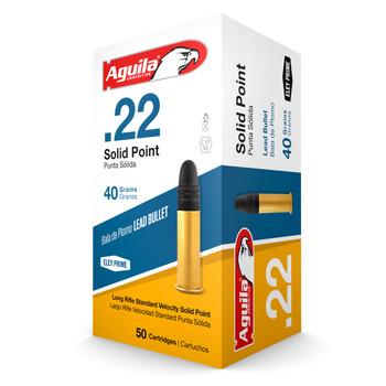 Aguila Ammunition Rimfire, 22LR, 40 Grain, Solid Point, Standard Velocity, 50 Round Box 1B222332, UPC :640420001050